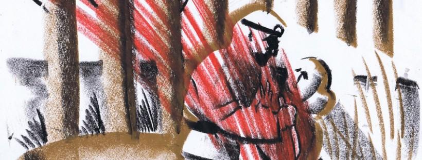Petteri Tikkasen kuvitus III näytöksen 2. kohtaukseen, jossa Wozzeck iskee puukon Marien rintaan