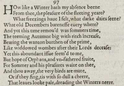 Sonnet 97 in the 1609 Quarto of Shakespeare's sonnets. (Wikipedia Commons)