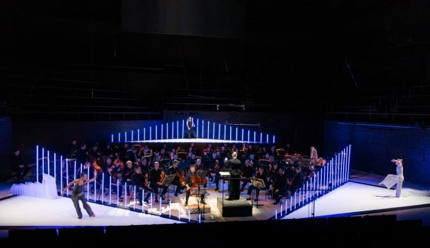 Tero Saarinen: Zimmermann Trio. Kuvassa Susanna Mälkki & HKO, Satu Halttunen, Misa Lommi ja David Scarantino